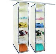Deuba Deuba 2x garderobekasthanger met 6 vakken in beige/blauw