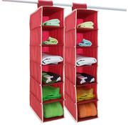Deuba Deuba 2x garderobekasthanger met 6 vakken in rood/wit