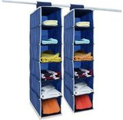 Deuba Deuba 2x garderobekasthanger met 6 vakken in blauw/wit