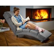Casaria Casaria ergonomische Loungestoel Ligbed London | Grijs verweven stof |  Belastbaar tot180kg