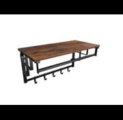 Loods 1 Loods 1 Industriële wandkapstok met plank en stang Vinstage bruin/zwart - 30x88x27 cm