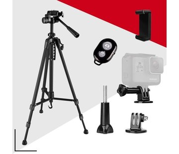 Picca Picca Camera statief voor spiegelreflexcamera - tripod – GoPro en telefoon – 140 cm