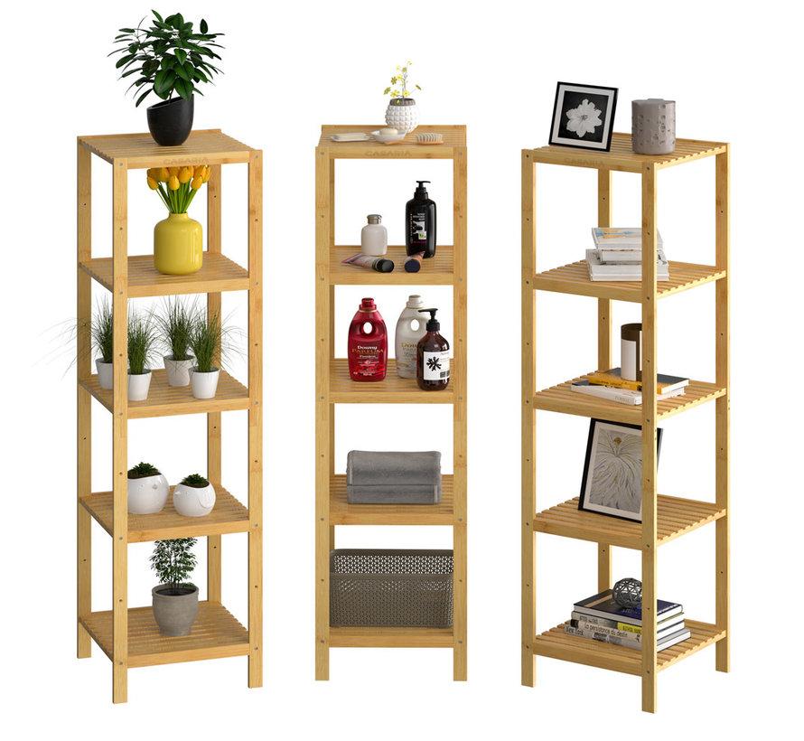 Casaria Staande badkamer/ woonkamer kast bamboe 140x33x33cm Tijdloos Hoogwaardige Kwaliteit