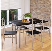 Casaria Casaria 5 delige meubelset - eettafel + 4 stoelen - zwart - 110 x 70 x 76 cm