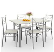 Casaria Casaria 5 delige meubelset - eettafel + 4 stoelen - Wit
