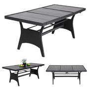 Casaria Casaria Polyrattan tafel zwart 190x90x75cm met WPC tafelblad