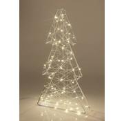 Star-Max Kerst zilverdraad spar met 80 lampjes