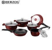 Herzog Herzog - 16-delige Koekenpannenset Bordeaux - Spuitgiet - HR-ST16M