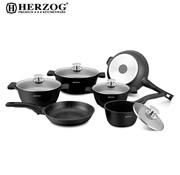 Herzog Herzog - 16-delige Koekenpannenset Zwart - Spuitgiet - HR-ST16M