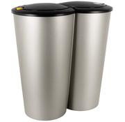 Deuba Deuba Dubbele afvalbak Klein 2 x 25L voor scheiden afval -  zilver kunststof