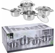 Excellent Houseware Excellent Houseware Pannenset RVS 8 delig - Stevige kwaliteit