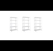 Erro 3 Stuks Metalen Opbergrek/Stellingkast met 5 legborden - 300kg draagkracht - (BxDxH) 73x30x170cm - 60kg per plank