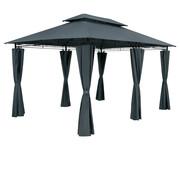Casaria Paviljoen tuintent / partytent - 3x4m - metalen zijdelen - waterafstotend - antraciet