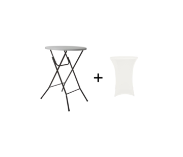 Perel Ronde Vouwtafel / Bistrotafel inclusief hoes - 80 x 110 cm (ø x H) - Wit