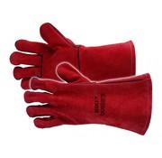 Busters Busters Leren BBQ handschoenen - Hittebestendig - maat 10 - tot 100 C° - 35 cm - Rood