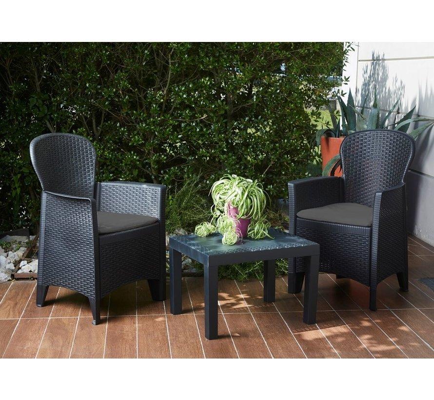 Pro Garden 5-delige Tuinset - Stoelen, Kussens en Tafel - 57x59x89cm - Max 120 kg
