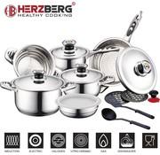 Herzberg Cooking Herzberg 16-Delige RVS Pannenset - Vaatwasser bestendig - Voor Gas en Inductie