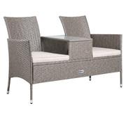 Casaria Casaria Tuinbank/ Love Bench met box/ tafel met Zitkussens 143x64x87cm - Grijs