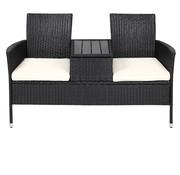 Casaria Casaria Tuinbank/ Love Bench met Opbergbox met Zitkussens 143x64x88cm - Zwart