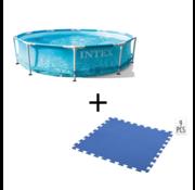 Intex Intex Opbouwbaar Zwembad - Beachside Metal framepool 305x76 cm + INCL. Free And Easy Zwembadtegels Foam Blauw 9 Stuks