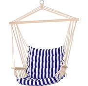 Pro Garden Pro Garden Hangstoel - Hammock - Schommelstoel - voor 1 persoon - Buiten - Marine blauw/ Wit - 50x45x 100cm