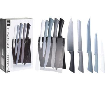 Excellent Houseware Excellent Houseware Messenset met Messenblok -modern - 5 messen