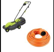 Kinzo garden Kinzo Garden elektrische Grasmaaier - 1100 Watt - Opvangbak 30L - Maaibreedte 320mm + INCLUSIEF Vekto verlengsnoer 10 meter verlangkabel oranje 2500 watt