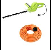 Kinzo garden Kinzo Garden elektrische Heggenschaar - 500 Watt - 1500rmp - Bladlengte 410mm + INCLUSIEF  Vekto verlengsnoer 10 meter verlangkabel oranje 2500 watt