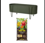 Pro Garden Pro Garden Plantenbak - Langwerpig - Mat Groen - 58X20X32CM + INCLUSIEF Compo Sana Universele Potgrond - 40L