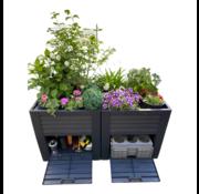 Pro Garden Pro Garden dubbele Plantenbak verhoogd – Met opslagruimte – Robuust – Weerbestendig - 150X76X78 cm - voor in de tuin of op het balkon