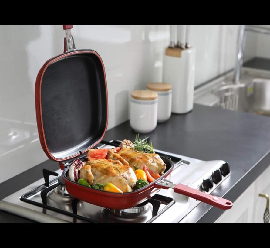 Platinum Dubbele pan / Grillpan - 32 cm - gietaluminium - omkeerbare grillpan - Bordeauxrood