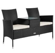 Casaria Casaria Tuinbank Love Bench met tafel en Zitkussens 143x64x87cm - Zwart