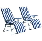 Outsunny Outsunny Ligstoelenset met armsteun en ligkussens opvouwbaar blauw-wit 2stuks
