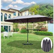 Outsunny Outsunny Dubbele parasol met slingerhandvat grijs 460 x 270 x 240 cm