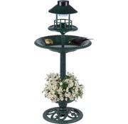 EDCO Vogelbadje met plantenbak - Voerbak -  Solar LED-verlichting - 50 x 140 - Antiek Groen
