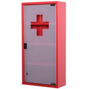 HOMdotCOM HOMdotCOM Metalen medicijnkastje, EHBO-kast, 4 vakken, rode draaideur