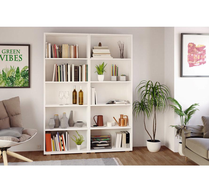CASARIA Boekenkast Vela met 5 vakken wit | 190 x 60 x 31 cm | Basic Scandinavische look - Copy