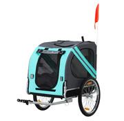 Paws Paws Huisdier fietsaanhanger weersbescherming hondenkar oxford-stof blauw / groen