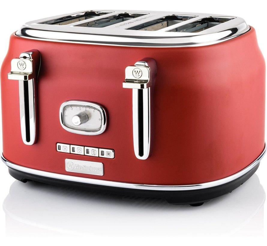 Westinghouse Retro Broodroaster - Geschikt Voor 4 Boterhammen- Rood