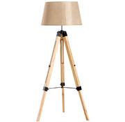 HOMdotCOM HOMdotCOM Staande vloerlamp met 3 poten hout beige 65 x 65 x 99-143cm