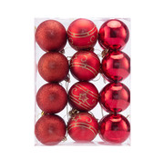 Deuba Deuba Kerstballen - Kerstboomverlichting - Kerstboom decoratie -Set van 24 Rood