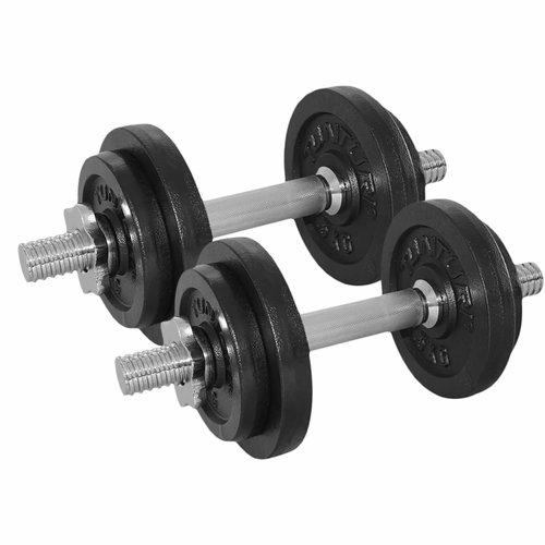 Dumbbellset - Halterset - Totaal 20 kg - 2 stuks Gietijzer met schroefsluitingen