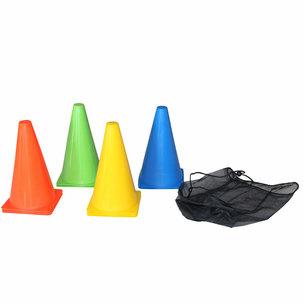 Oranje voetbalpion set 10st - 23cm hoog - diverse kleuren