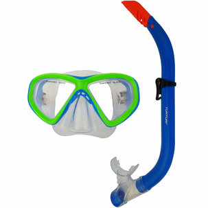 Snorkelset -Duikbril en Snorkel - Junior - Groen/Blauw