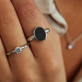 Parte di Me Brioso Cortona Margaretha 925 sterling zilveren ring met zwarte onyx