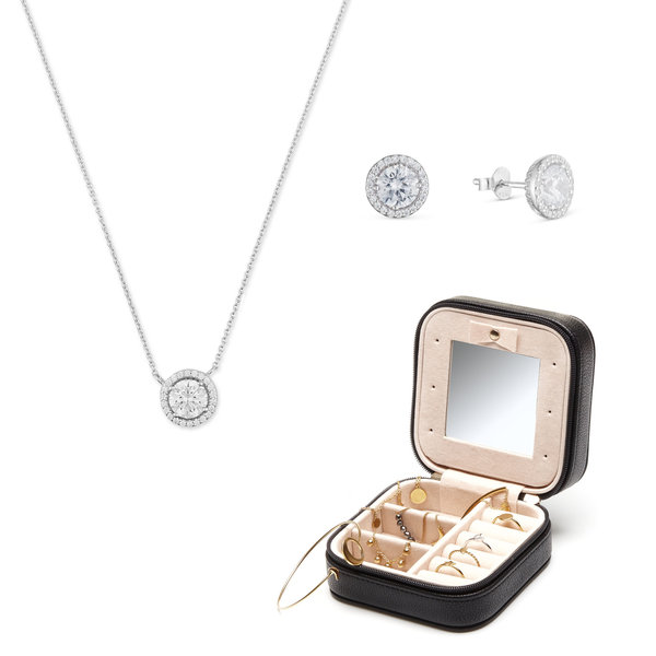 Parte di Me Sorprendimi 925 sterling silver set of earrings, necklace and jewellery box