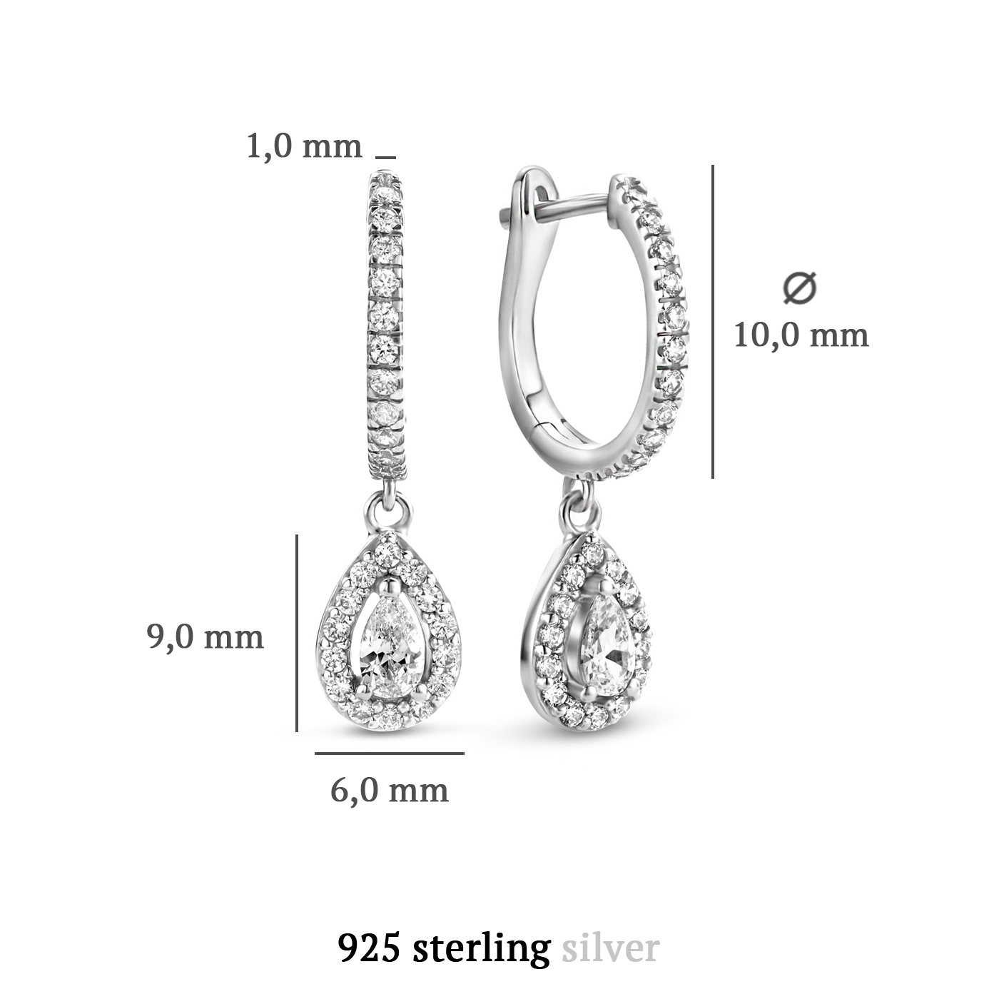 Parte di Me Ponte Vecchio Pitti 925 sterling zilveren oorhangers met zirkonia