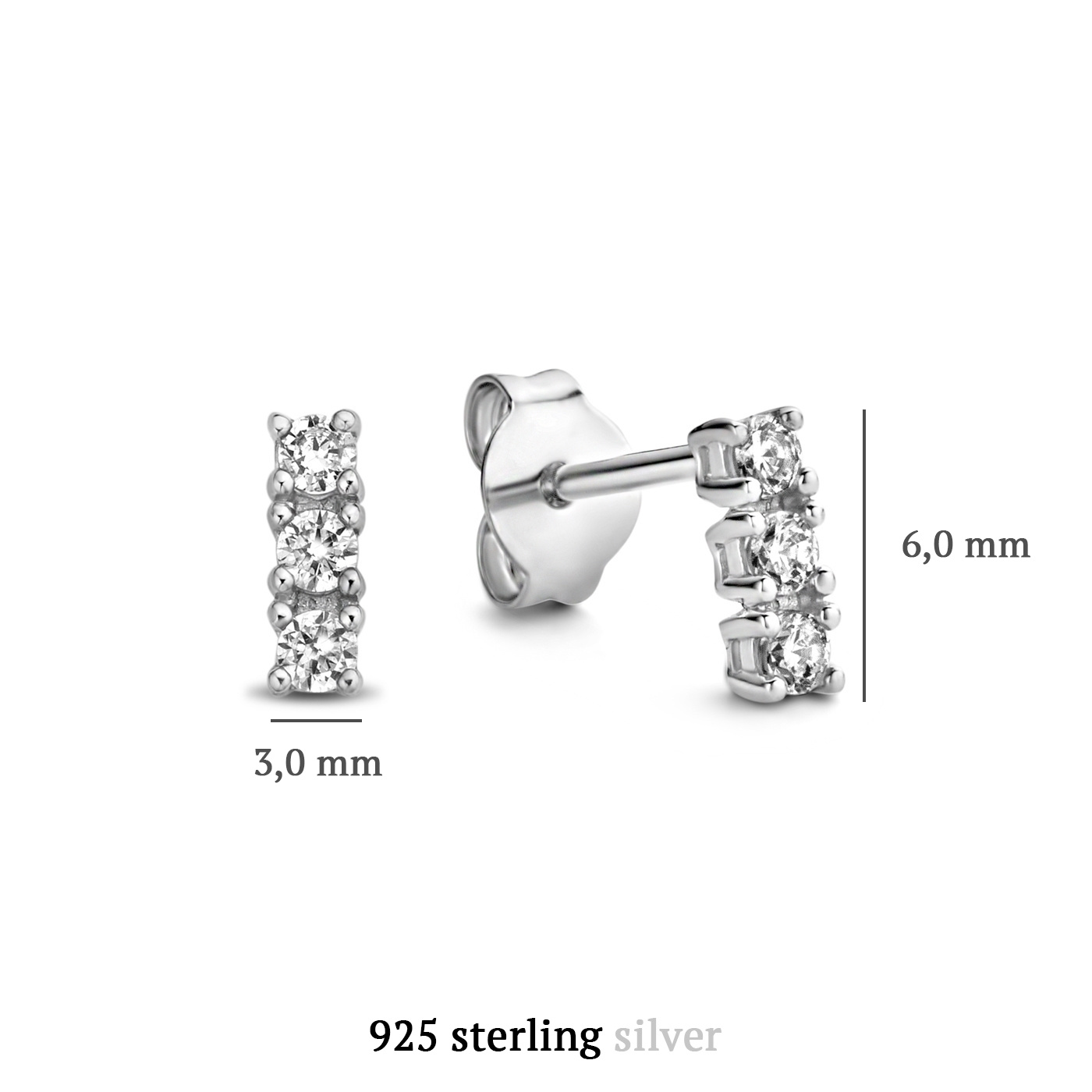 Parte di Me Bella Vita Sofia orecchini a bottone in argento sterling 925