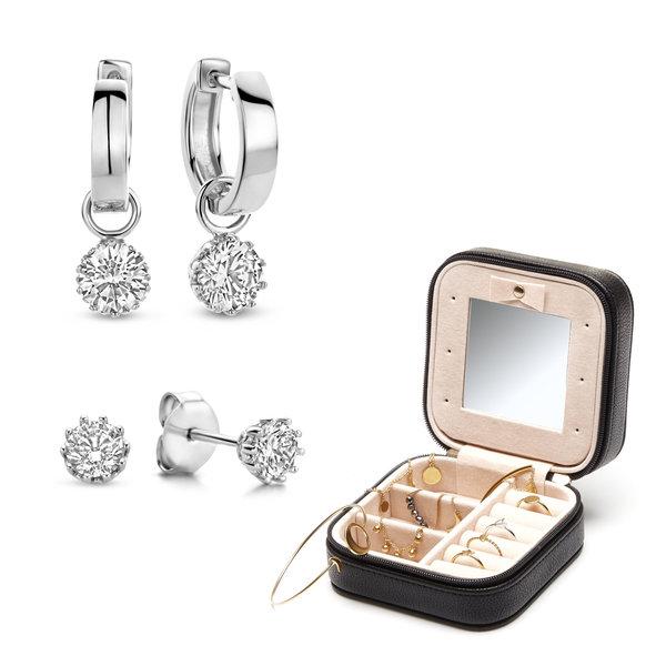 Parte di Me Sorprendimi 925 sterling silver uppsättning örhängen och smyckeskrin