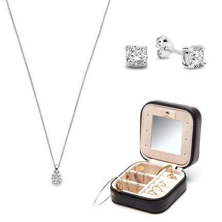 Parte di Me Sorprendimi set di orecchini a bottone, collana in argento sterling 925 e portagioie